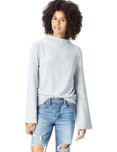 Amazon-Marke: find. Pullover Damen meliert mit Stehkragen, Grau (Grey Marl), 38, Label: M