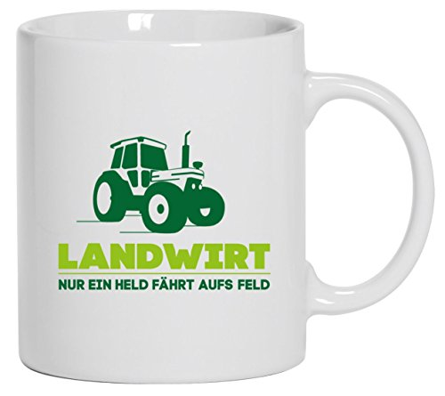 Landwirt Trecker, Traktor Bauer Kaffee Becher mit Motiv bedruckte Tasse Mug Kaffeebecher, Größe: onesize,Weiß