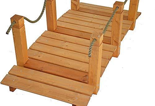 Holzgartenbrücke mit Waffenkammer-Holz-Garten-Deck-Dekorationsverzierungen, gefärbtes Teakholz für Bäche und Teichgrenzen,Mahogany