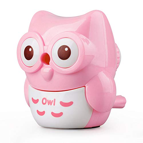 StudentsZone Kids Hand held Manual Pencil Sharpener with Cover for Colored Pencils (Owl-Pink)