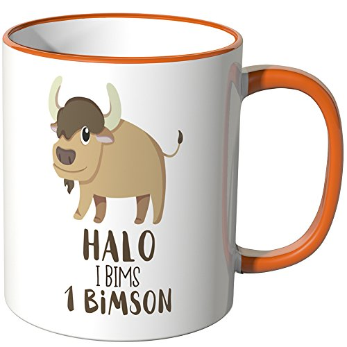 JUNIWORDS Tasse - Wähle eine Farbe -Halo I bims 1 bimson - Orange