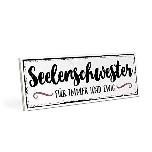 ARTFAVES Holzschild mit Spruch - SEELENSCHWESTER - Vintage Shabby Deko-Wandbild/Türschild