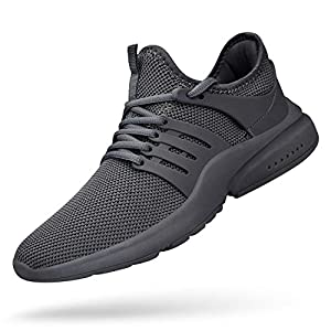 Feetmat Mens Running Tennis Work Shoes Slip On Resistant Sneakers Lightweight Breathable Athletic Fashion Gym Sport Non Slip Shoes Size 8.5 Grey Zapatos De Hombre Mens Sneakers Tenis para Hombres