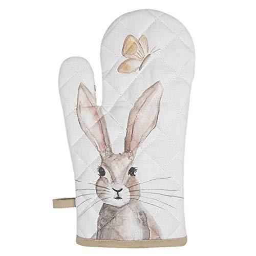 CLAYRE & EEF Ofenhandschuh mit weißem Kaninchen 16x30 cm REB44