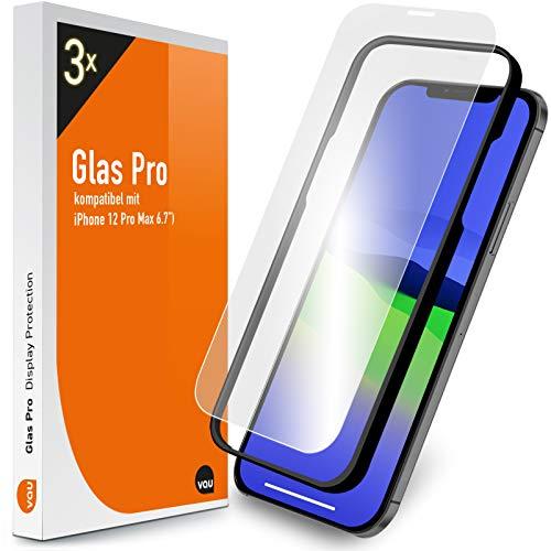vau Glas Pro kompatibel mit iPhone 12 Pro Max (6.7) Panzer-Folie Displayschutz 3 Stück mit Schablone