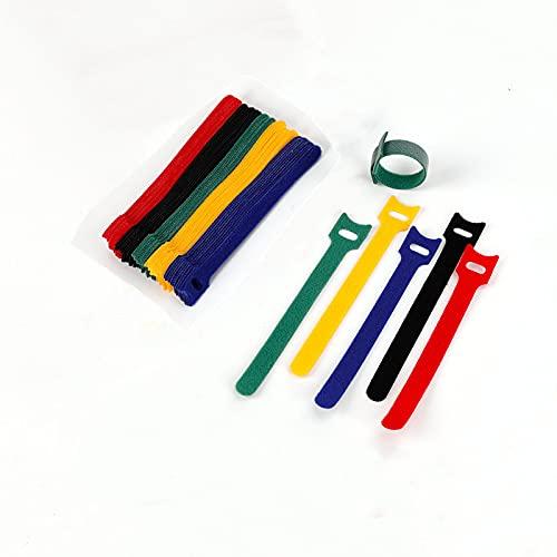 SU 50 bridas de velcro reutilizables de nailon, 5 colores, para casa y oficina