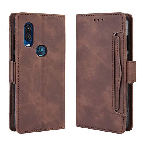 UBERANT Capa carteira Motorola One Vision, TPU macio e couro PU com função de suporte para cartão de armazenamento e absorção de choque, capa protetora para Motorola One Vision – Marrom