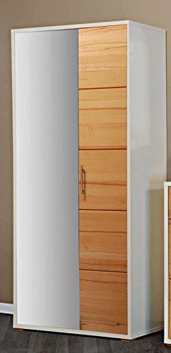 Unbekannt Garderobenschrank Kernbuche Hochglanz-Weiß Dielenschrank - (969)