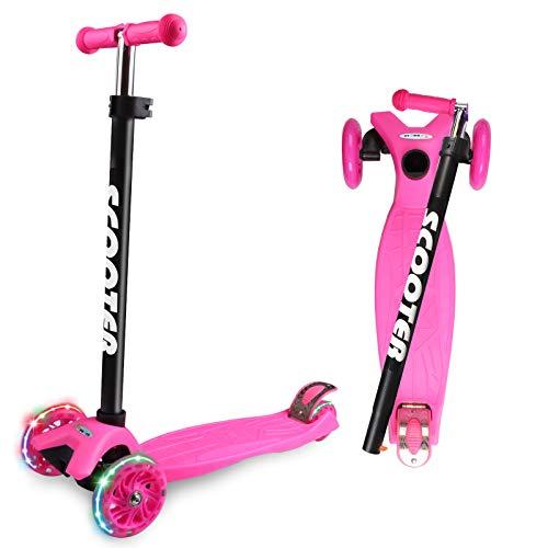 Scooter Kinder Roller, Dreiradscooter für Mädchen und Jungen, Höhenverstellbarer und Abnehmbarer Kinderscooter, mit PU Räder Kinder Scooter (Rosa)