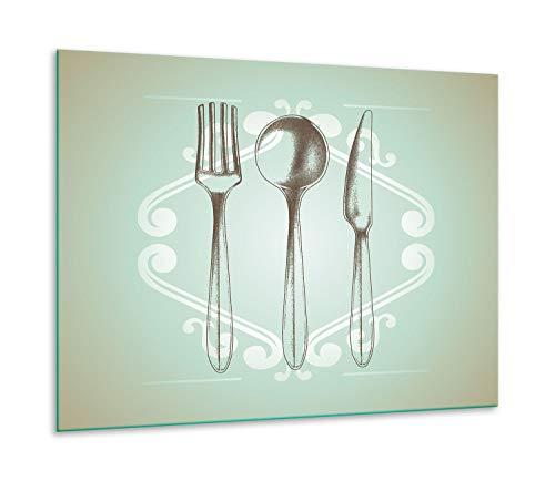 QTA | fornuisafdekplaat 60 x 52 cm keramische afdekking 1-delig universeel elekrofornuis inductie voor kookplaten fornuis spatbescherming snijplank bestek