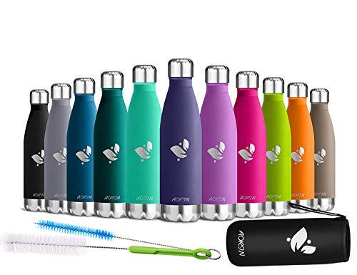 AORIN Vakuum-Isolierte Trinkflasche aus Hochwertigem Edelstahl - 24 Std Kühlen & 12 Std Warmhalten Pulverlackierung Kratzfestigkeit Leicht zu reinigen. (lavendel-750ml)