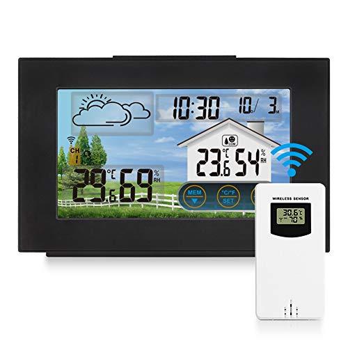 Achort Kabellose Wetterstation mit Außen- und Innen-Sensor, Digitales Thermometer Hygrometer, Wecker, Wettervorhersage, Touch-Steuerung LCD Digitale Wetterstation für Home Office Schlafzimmer Garten