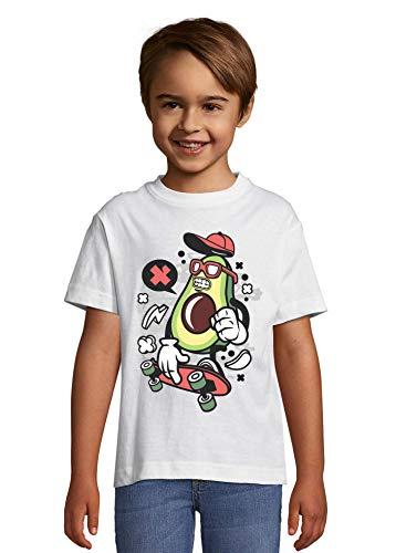Iprints Cartoon Styled Avocado Skater Urban Guacamole T-shirt voor kinderen