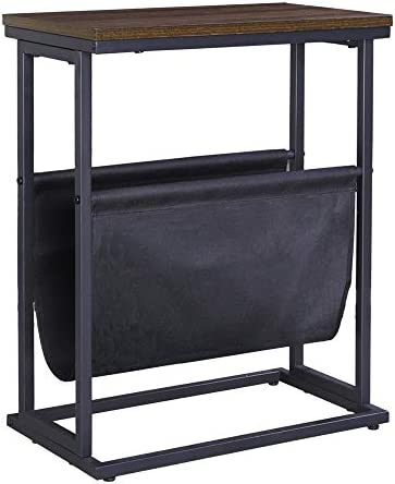 FIVEGIVEN Retro Industrial End Table Small Narrow Side Table with Magazine Rack Espresso 10 product image