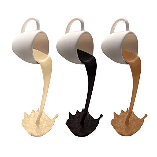 Kaffeetassen Lustige Kaffeetassen zur Dekoration, schwimmende verschüttete Kaffeetassenskulptur, neuartige und kreative Skulptur für die Wohnküche