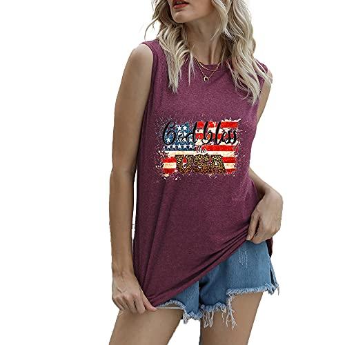 """Mayntop Camiseta de manga corta para mujer con diseño de bandera de Estados Unidos con texto en inglés """"God Bless"""" para el 4 de julio, A-vino, 46"""