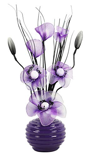 Flourish Kunstblumen im Topf Dekoration Wohnung Modern Deko Wohnzimmer, Geschenk, 32cm, Violett Lila Purpur