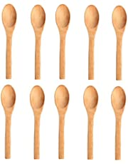 cosanter 10pieza Juego de cuchara de madera cucharas de mermelada creativo cuchara de miel mano gemachter hölzerner Cuchara de vino Lectura Cubiertos Sets Cocina, 12.8*2.9CM