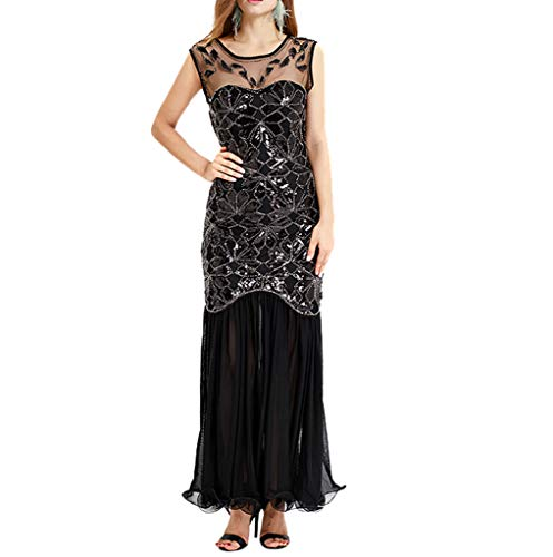 kingko Damen 1920er Gatsby Pailletten Art Deco Scalloped Saum Inspiriert Flapper-Kleid Flapper Kleid mit Kurzem Ärmel Gatsby Motto Party Damen Kostüm Kleid (XXL, Schwarz)