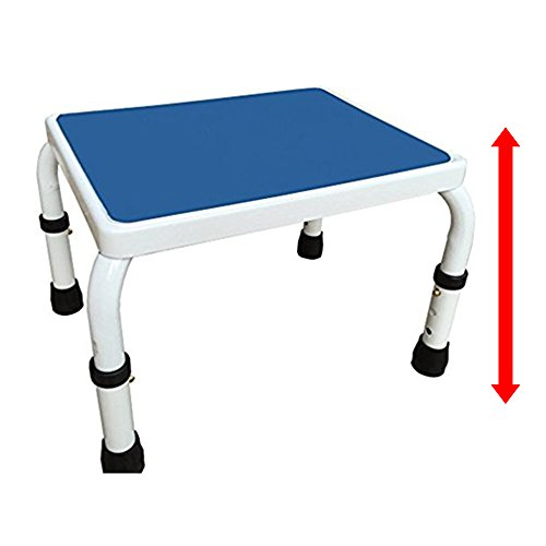 AdjustaStep Height Adjustable Step Stool- All Steel Construction, Anti-Slip Foot Pads and Platform. Bariatric Version Option. Modern White and Blue Finish.