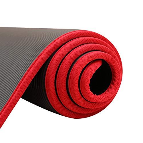 kasup 183 cm x 61 cm Alfombrillas de Yoga Antideslizantes Fitness Pilates sin Sabor Almohadillas de Ejercicio con Vendajes 6 mm Negro