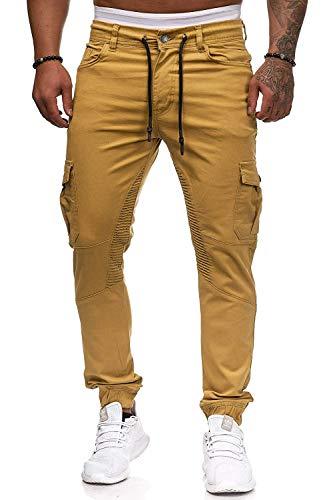 Herren Hosen Cargo Chino Jeans Stretch Jogger Sporthose Herren Hose mit Taschen Slim Fit Freizeithose(kh,l)