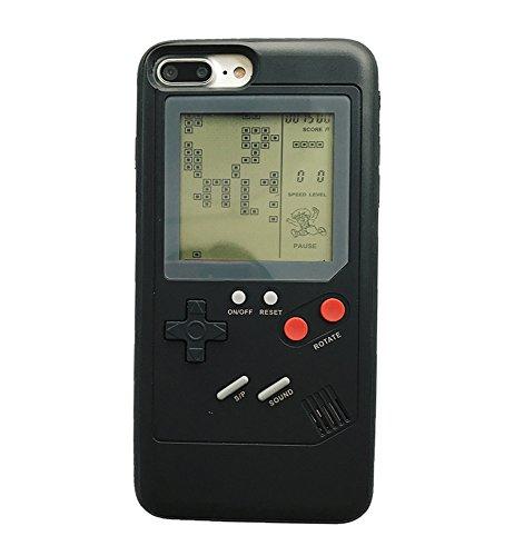 iPhone X 携帯電話カバー 3Dゲームボーイ 男 女 ソフトシリコンケース レースゲーム テトリスゲームを多数内蔵 アイフォン 10 X レトロ風ゲーマ保護ケース (iPhone X, Black Game Case)