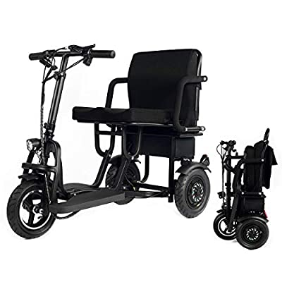 WISGING Scooter Mobility Folding Electric Mobility Scooter 3 Wheel Lightweight Portable Power Travel Scooters - Support 280 lbs Weight Only 58 lbs Long Range(18.6 Mile)