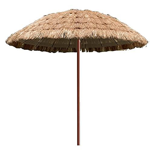 FHKBB Paraguas Tropical Hawaiano de 1.8M, sombrilla de Paja para la Playa, sombrilla de Paja de imitación Impermeable para Exteriores, Color Natural, con Base