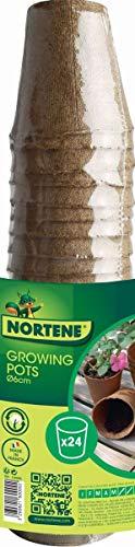 Nortene 24 Pots pour semis Growing Pots- 100% biodégradables - D 6 cm