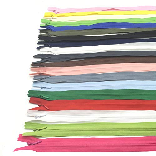 Mmei Pack of 60 Nylon Invisible Zippers for Tailor Sewer Sewing Craft Crafter's Special 16 Inch 20 Colors (3 pcs per color)