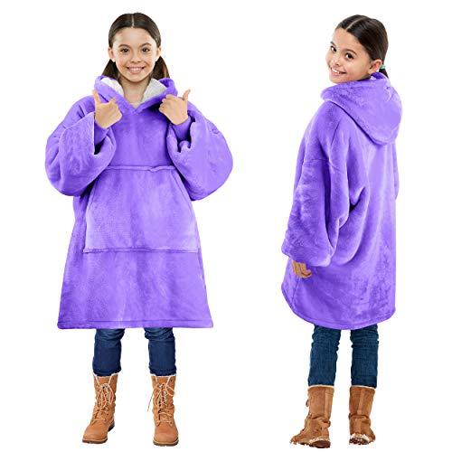 Kato Tirrinia Übergroße Sherpa Hoodie Sweatshirt Decke, SuperWeiche Warme Riesen Hoodie Fronttasche Giant Plüsch Pullover Decke mit Kapuze for Jungen Mädchen Teen Kinder, Lila