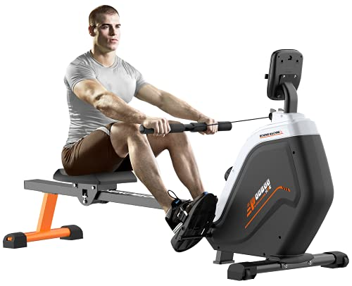 pooboo Magnetic Rowing Machines Rower Foldable with 16 Level Resistance Indoor Rower Machines with Digital Monitor & Transport Wheels for Home Use