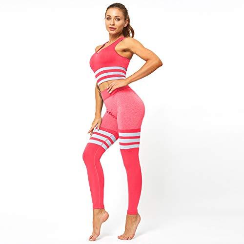 Yoga Pants Stripes, Damen-Strumpfhosen, Nahtlose Strickweste Anzüge, elastische Gesäß Fitness Sportswear Fitness-Leggings (Color : C, Size : M)
