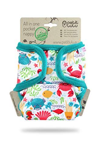Petit Lulu AIO Windelhöschen   Druckknöpfe   All In One Windel   AIO Pocket Nappy   Bambus & Biobaumwolle Einlagen   Stoffwindeln (Lagune)