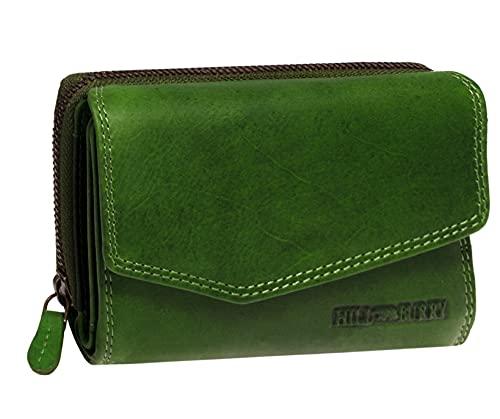 Hill Burry Damen Leder Geldbörse | Vintage Echt-Leder Portemonnaie mit vielen Fächern | Kompakte Geldbeutel - Portmonee | Mit RFID Schutz (Grün)