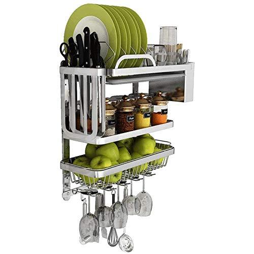 Práctico y Conveniente Escurridor de Platos Cocina estante del pote, tapiz de almacenamiento en rack de almacenamiento, for acero inoxidable Utensilios de cocina de almacenamiento, cuchillo estante de