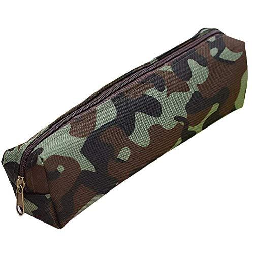 SUPERTOOL Bolsa de lápices de camuflaje verde estilo militar, verde, súper fresco, Being Real Me, duradera, con cremallera, peso ligero, bolsa de lona para cartelería escolar (1 unidad)