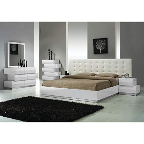 Best Master Furniture 5 pcs Modern Bedroom Set, Cal. King, White