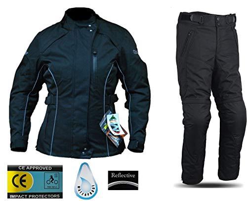 WinNet Completo tuta da moto femminile in cordura giacca e pantaloni per turismo (XS)