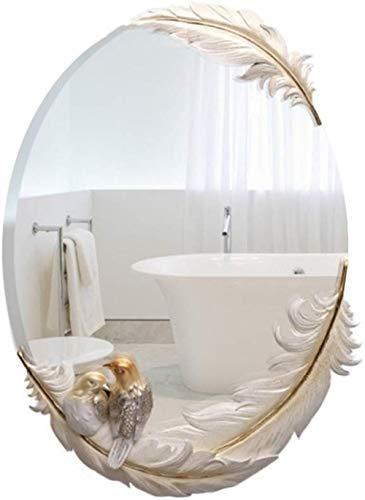 LHY- Maquillage Miroir Miroir Coiffeuse gaufrée Minimaliste Art Mural Miroir en Verre Miroir Rond Miroir Salle de Bains La Mode (Color : White)