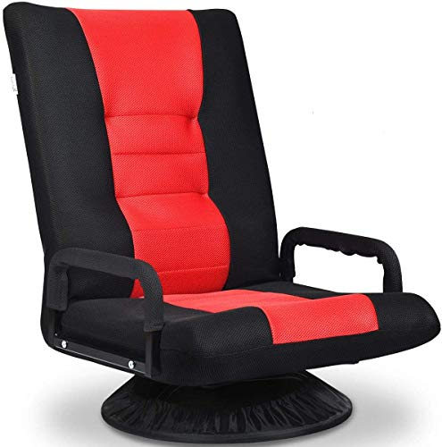 COSTWAY Folding Sofa Chair, 360 Degree Swivel 6-Position Adjustable Lazy High-Back Seat with Handrails, Home Office Living Room Study Furniture Reclining Lounge Chairs (Red)
