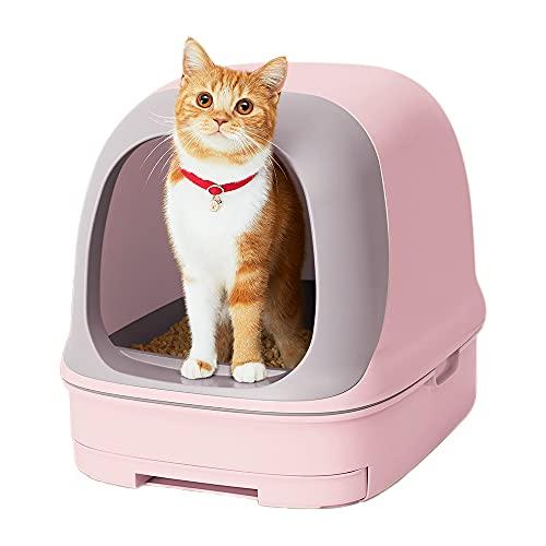 【返金キャンペーン中】スマイリーBOX 猫用トイレ本体 ニャンとも清潔トイレセット [約1か月分チップ・シート付] ドームタイプ フレンチローズ(猫ちゃん想い設計) 猫砂