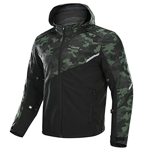 LALEO Hombres Extra Grande Chaqueta de Moto, Transpirable Cálido Impermeable Anti-caída Resistente Cuatro Estaciones con Armours CE, Camuflaje Negro Verde