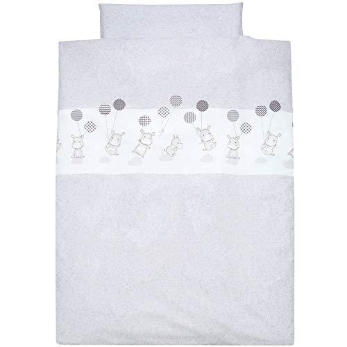Alvi Bettwäsche für Kinderbett Hippo silber 100x135 cm 401209729