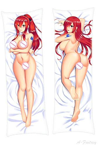 A-Fantasy Erza Scarlet Fairy Tail Pillow Cover 150x50cm Peach Skin Manga Long Hugging Body Hugs Throw Pillowcase