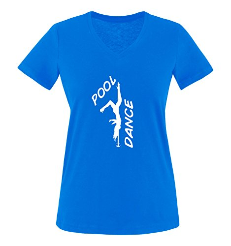 Comedy Shirts - Pool Dance - Figur - Damen V-Neck T-Shirt - Royalblau/Weiss Gr. L
