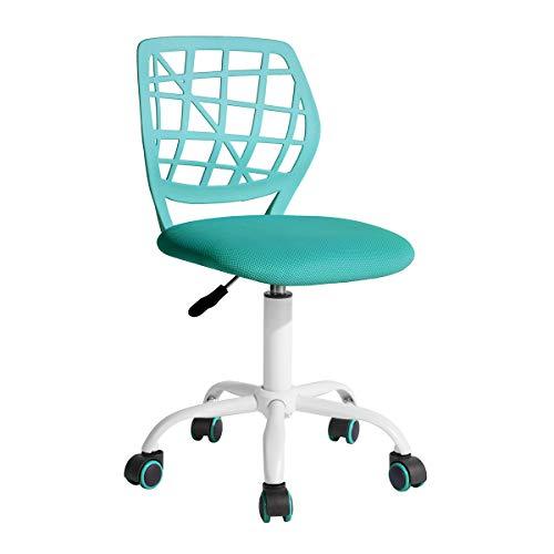 Homy Casa Office Chair Adjustable Design Kids Computer Seat Desk Task Chair Swivel Armless Children Study Chair Turquoise