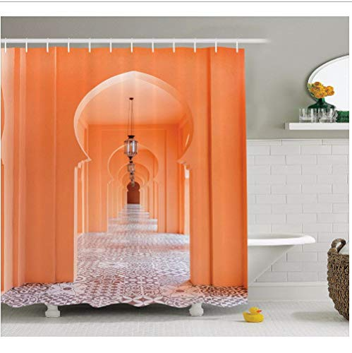 flooltercm Cortinas de Ducha de Arte Calzada de Estilo marroquí con Motivos islámicos y baño de Arte árabe Cortinas Decorativas Modernas 180x200 cm con Gancho