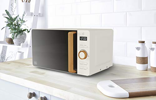 Swan 20L Nordic Digital Microwave, 6 Power Levels, Wood Effect Handle, Soft Touch Housing and Matte Finish, 800W, Blue…